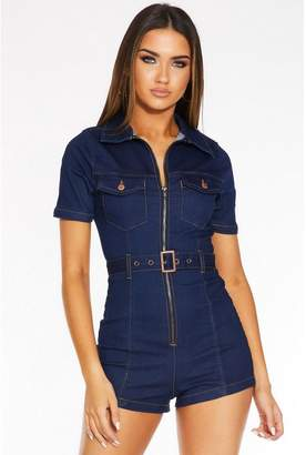 Quiz Dark Blue Denim Zip Front Playsuit