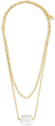 Sterling Forever Layered Genuine Pearl Necklace