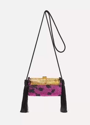 Bienen Davis Bienen-Davis - Regine Tasseled Metallic Fil Coupe And Gold-dipped Shoulder Bag - Purple