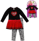 Dollie & Me Dollie and me zebra heart dress and leggings set - toddler