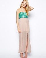 Paradis London Sequin Top Maxi Dress