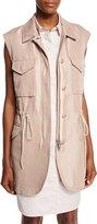 3.1 Phillip Lim Button-Front Drawstring Utility Vest, Blush