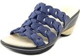 Jambu Romance Women Open Toe Leather Blue Slides Sandal.