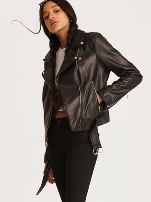 DKNY Women's Leather Motorcycle Jacket - Black - Size XL
