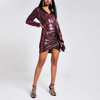 River Island Womens Pink metallic long sleeve ruffle mini dress