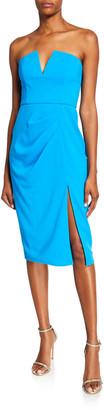 Jay Godfrey Kyle Strapless V-Neck Dress w/ Thigh Slit