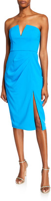 Jay Godfrey Kyle Strapless V-Neck Dress w/ Thigh Slit