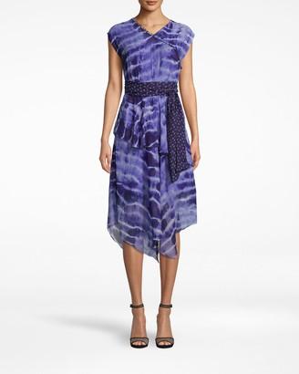 Nicole Miller Watercolor Tie Dye High Neck Midi Dress