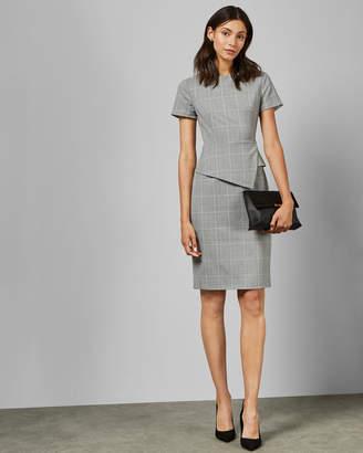 Ted Baker ARRIIA Check peplum tailored dress