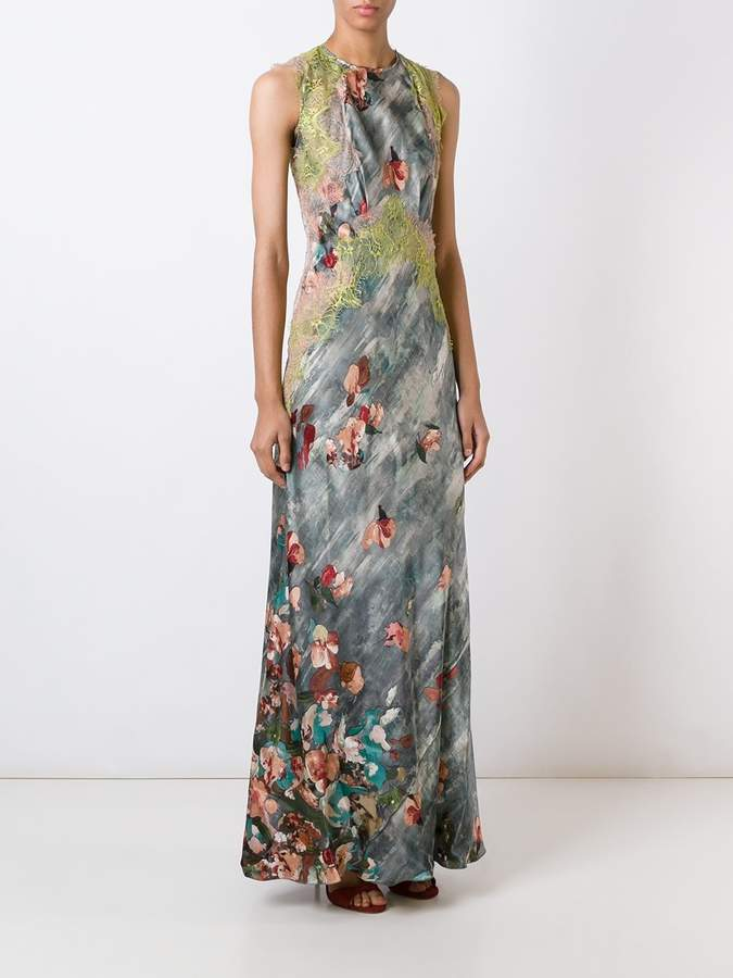 Alberta Ferretti lace detail floral print dress