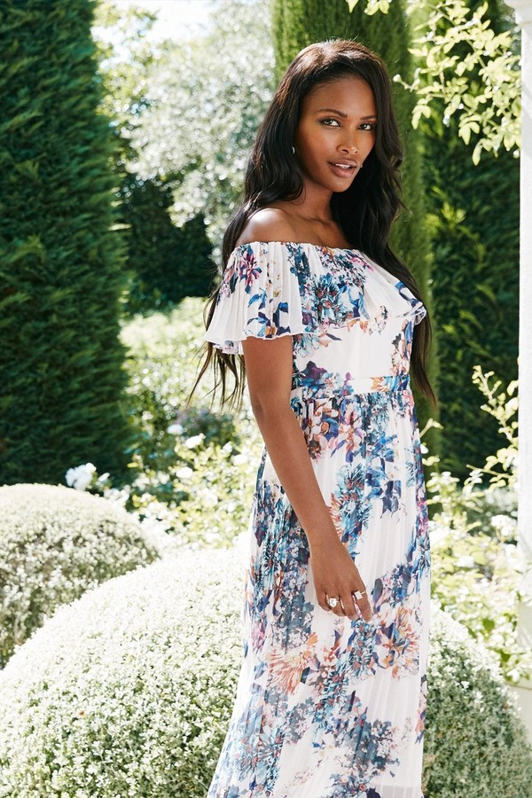 Thumbnail for your product : Little Mistress Kimberly Floral-Print Bardot Midi Dress
