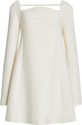 Carolina Herrera Curved Neckline Double Wool Mini Dress