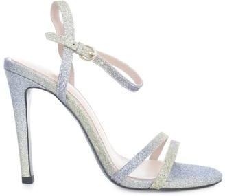 Ash Glenn Sandal Glitter W/high Heel And Lace On Ankle