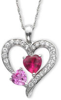 JCPenney FINE JEWELRY Lab-Created Ruby, Pink & White Sapphire Heart Pendant Necklace