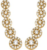 14K Gold Crystal Circles Ear Climber Earrings