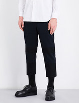 Comme des Garcons Contrast-fabric cropped wool trousers