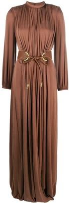 Elisabetta Franchi Open-Back Draped Long Dress