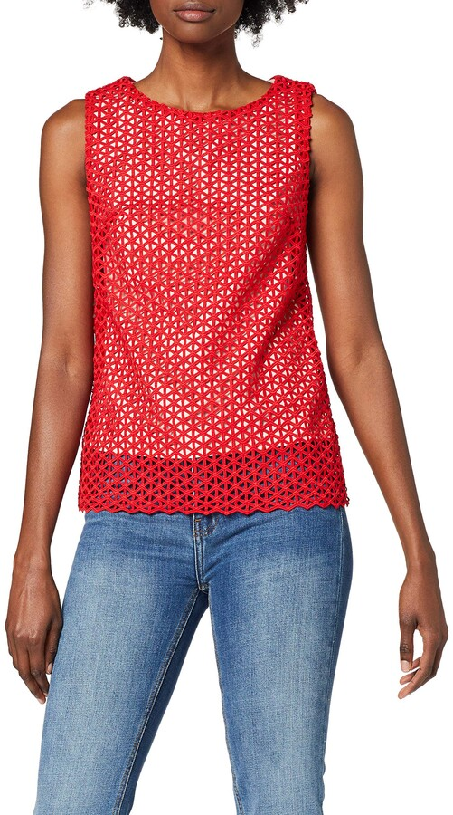 Wolfwhistle Wolf and Whistle Women's Red Crochet Lace Vest Top 8