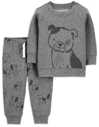 Child of Mine by Carter's Baby Boy Long Sleeve Fleece Shirt and Fleece Jogger Outfit Set, 2pc
