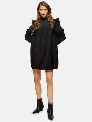 Topshop Pintuck Topstitch Mini Dress - Black