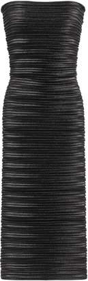Thierry Mugler Strapless Plisse-lame Midi Dress
