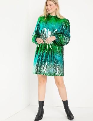 ELOQUII Mock Neck Sequin Mini Dress