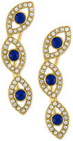 Rachel Roy Gold-Tone Blue Stone and Crystal Evil-Eye Ear Crawlers