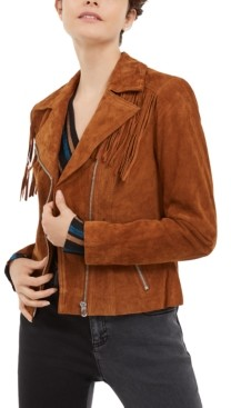 INC International Concepts Inc Suede Moto Jacket, Created for Macy's
