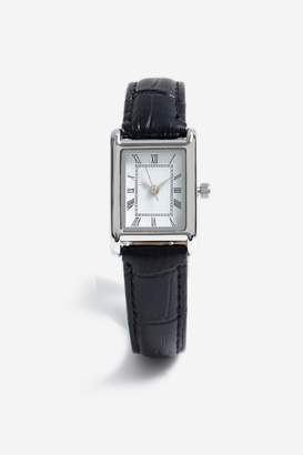 Freedom Womens **Rectangle Leather Look Strap Watch - Black