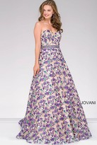 Jovani Floral Strapless Sweetheart Neck Dress 47740