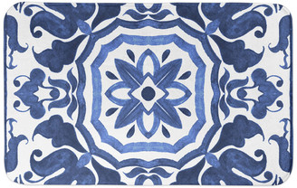 Designs Direct Creative Group Blue Damask Tile 34x21 Bath Mat