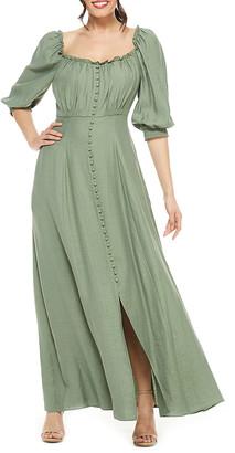 Gal Meets Glam Women's Casual Dresses GREEN - Green Button-Accent Joanna Square Neck Maxi A-Line Dress - Women & Juniors