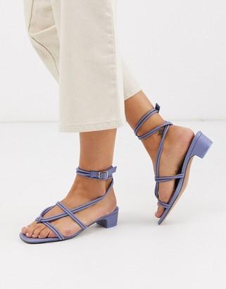 ASOS DESIGN Felipe tubular tie sandal in blue