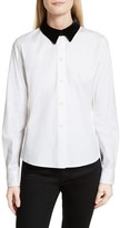 Theory Women's Velvet Collar Stretch Cotton Shirt