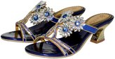 Monie Women's Sparkle Crystal Flower Shape Patterned Handmade Wedding Sandals for Bride with Low Chunky Heel 8B US