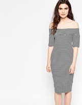 Minimum Tanne Stripe Off The Shoulder Dress