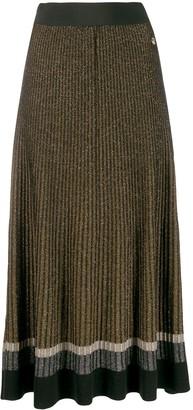Twin-Set Pleated Glitter Midi Skirt