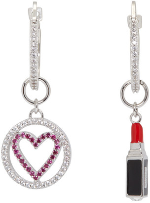 Miu Miu Silver Heart and Lipstick Earrings