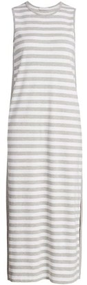 Joan Vass Petite Stripe Cotton Midi Dress