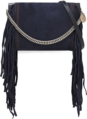 Givenchy Fringed Suede And Pebbled-leather Shoulder Bag