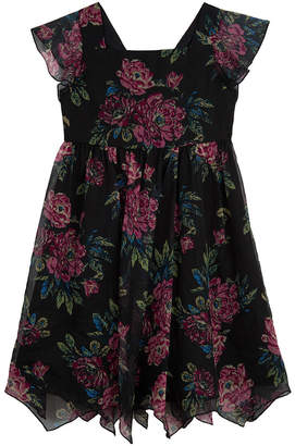 Pastourelle Floral Chiffon Peasant Dress