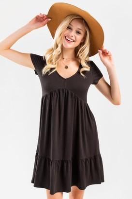 francesca's Izzey Tiered Babydoll Dress - Black