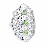Jade Sterling Silver Cocktail Ring Green Peridot