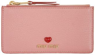 Miu Miu Pink Love Zip Card Holder