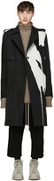 Rick Owens Black Bleached Denim Trench Coat
