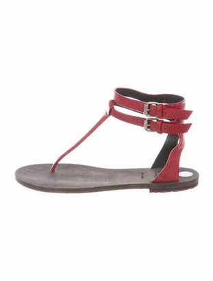 Brunello Cucinelli Leather T-Strap Sandals Red