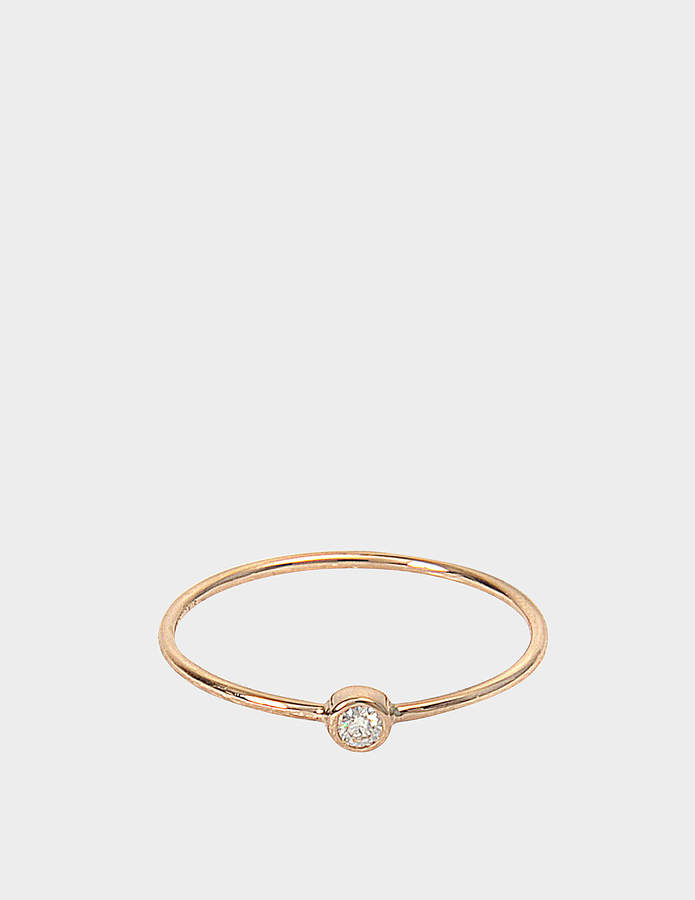ginette_ny Lonely Diamond 18-karat rose gold and diamond ring