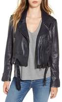 BLANKNYC Denim Faux Leather Crop Moto Jacket