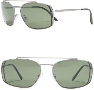 Prada 62mm Rectangle Sunglasses