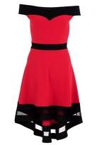 Quiz Red and Black Bardot Mesh Detail Dip Hem Dress